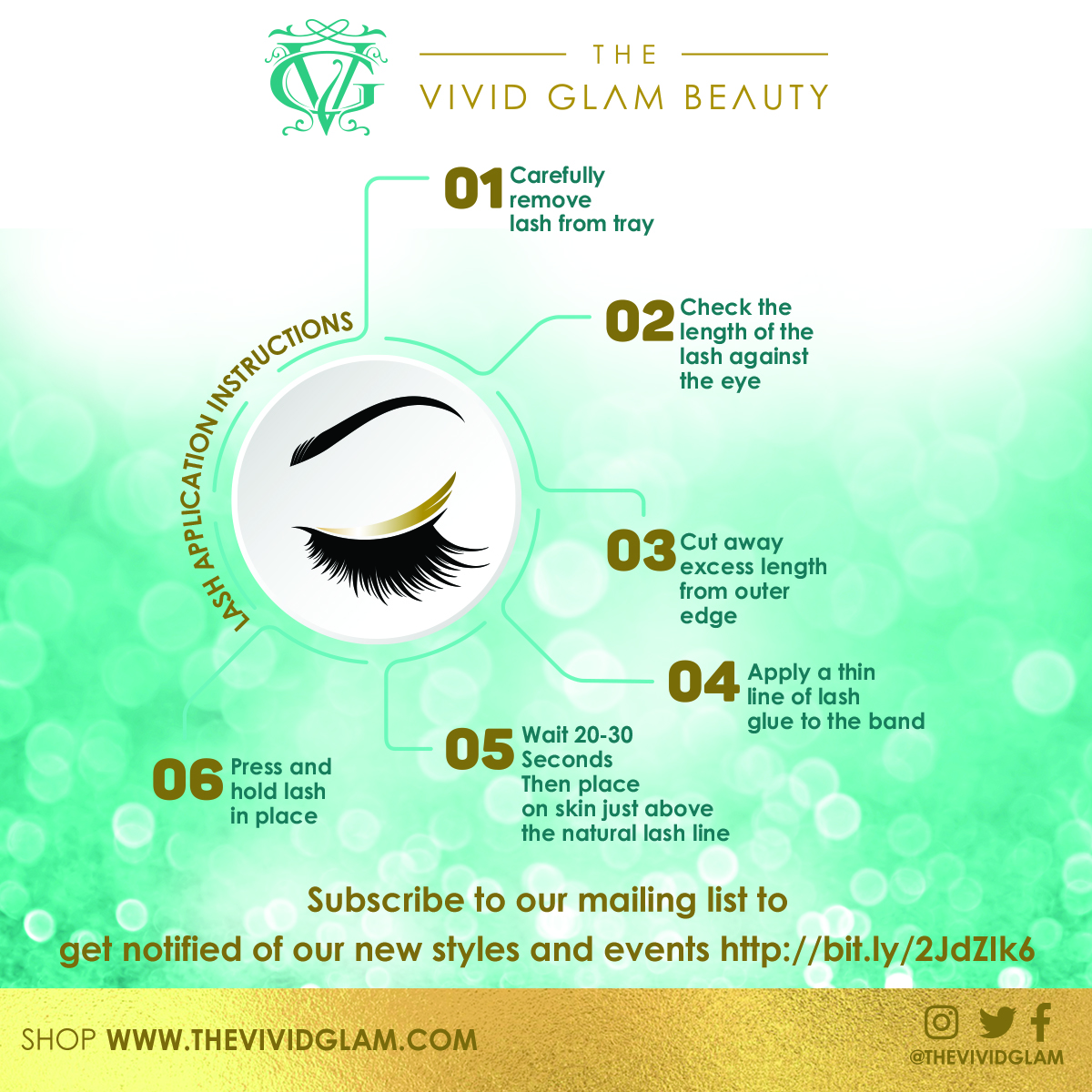 The Vivid Glam Lash Installation Instructions card