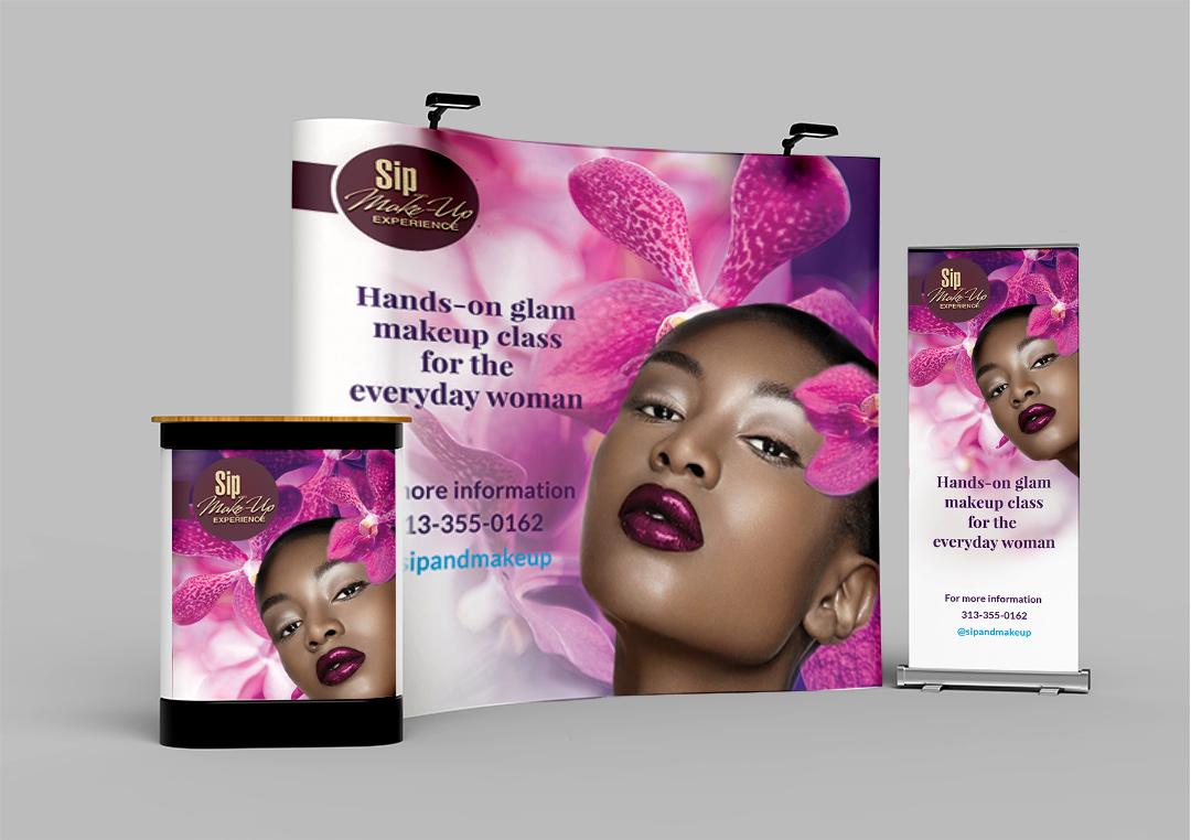 Vivid Glam Sip & Makeup banners