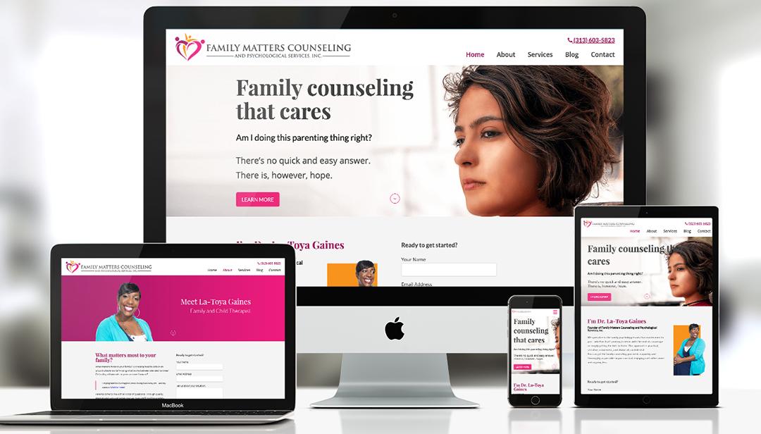Family matters responsive therapist website